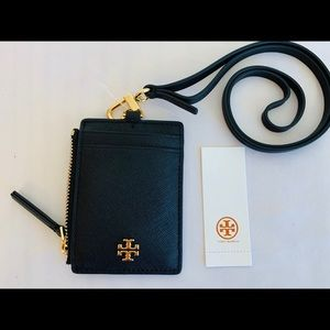 Tory Burch Emerson Lanyard ID Holder Black Leather